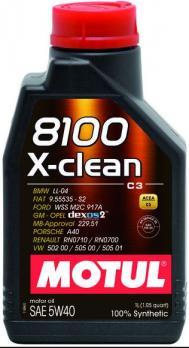 Масло Motul 8100 X-clean 5W40 моторное, синтетическое (1л)