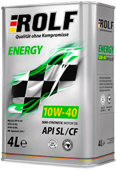 Масло ROLF Energy SAE 10w 40 API SL/CF моторное, полусинтетическое (4л)
